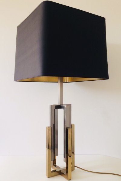 Hollywood Regency Willy Rizzo Majestic 2 tone brass Table Lamp, 1970s