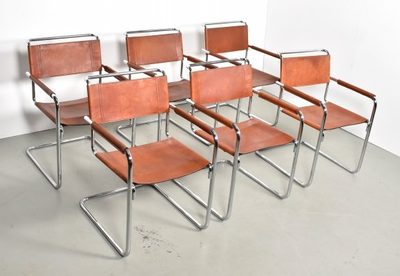 Set of 6 S34 dining chairs by Mart Stam for Fasem, 1970s