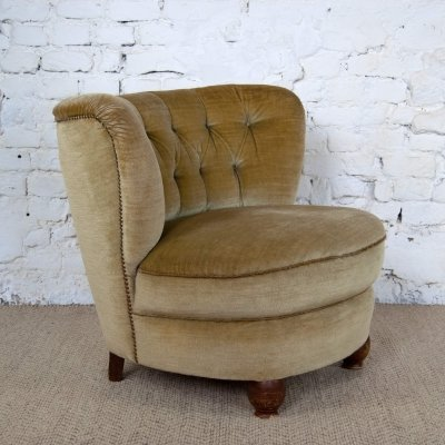 Club Chair in Mohair Velvet, 1950s