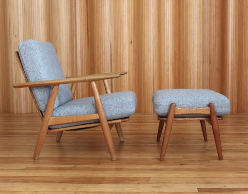 Hans Wegner oak GE240 'cigar' lounge chair & ottoman for Getama Denmark