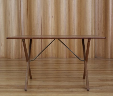 Hans Wegner AT308 oak & teak 'Sawhorse' sofa table by Andreas Tuck, Denmark