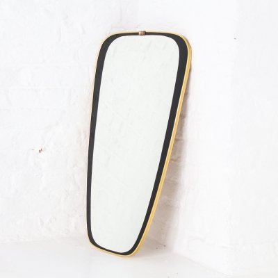 Free form shaped mirror with gilt frame