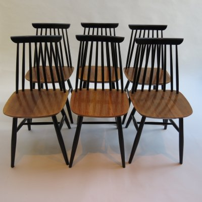 Set of 6 Black And Walnut Dining Chairs, 1950s