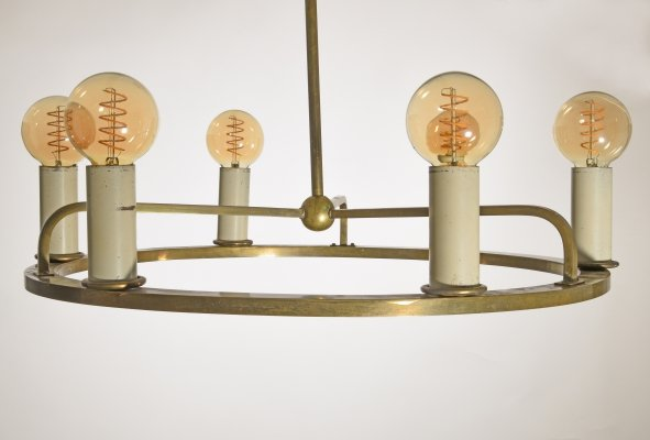 Bauhaus Hanging Lamp in Brass, Germany 1930s