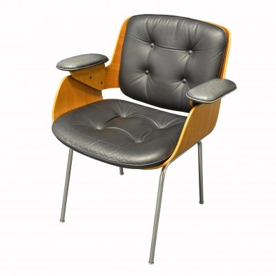 Black Leather D48 Desk Chair / Conference Chair by Hans Könecke for Tecta, 1960s