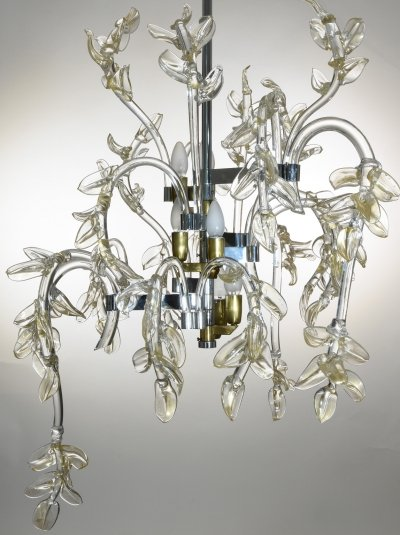 Water Lily Murano Glass Chandelier with gold Inclusions, Italy 1950s