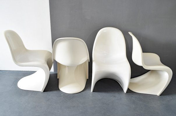 Set of 4 Panton Chairs in White by Verner Panton for Fehlbaum/Herman Miller, 1974