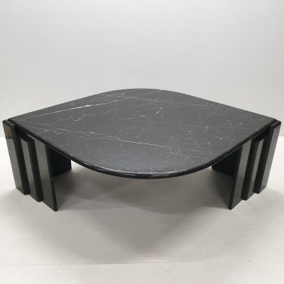 Vintage Italian black & white marble coffee table, 1970s