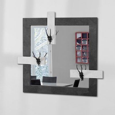 Mirror with 3 Aluminium deer antlers & wooden frame covered with uncoated paper, 1990s