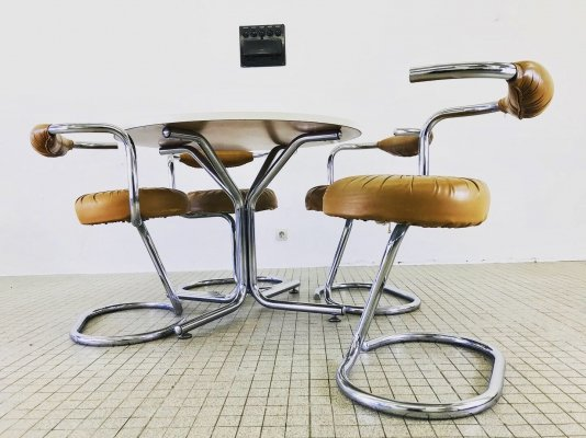 'Cobra' dining chairs with matching dining table by Giotto Stoppino, 1970s
