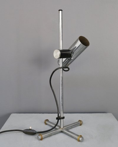 Italian MidCentury table lamp in chrome-plated steel, 1970s