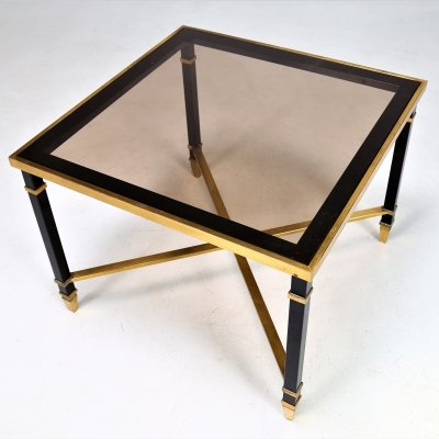 MidCentury France Coffee Table in brass & glass by Maison Jansen, 1970s