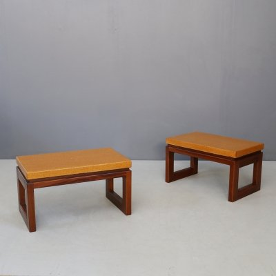 Pair of Paul Frankl Cork Coffee Tables / Stools, 1950s