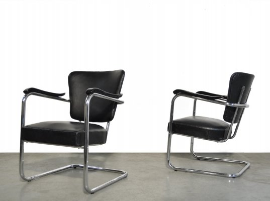 Vintage metal tubular chairs by Fana Metal Rotterdam, 1950s