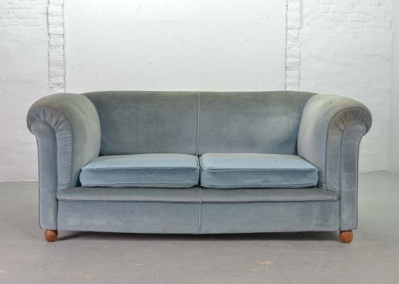Frosted Blue Velvet Two-Seat Victorian Chesterfield Sofa, France 1950s