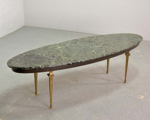 Green Marble Oval Coffee Table with Decorative Brass Feet, France 1950s