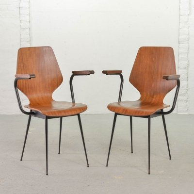 Pair of Minimalistic Italian Midcentury Design Plywood Side Chairs, 1950s
