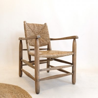 Straw 'Paillé' armchair by Charlotte Perriand, circa 1935