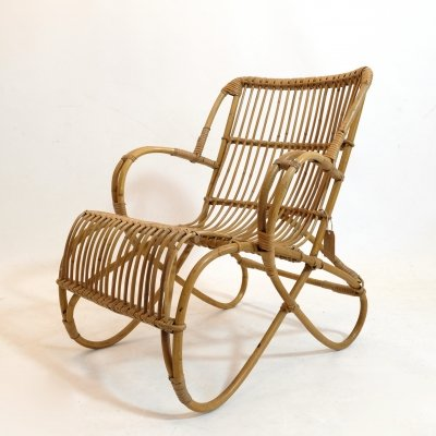 Mid century rattan lounge chair, 1950s