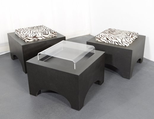 3 x Stool with cushion or tableboard, 1990s