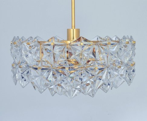 3-tier 46 faceted crystal & gilt brass Chandelier by Kinkeldey