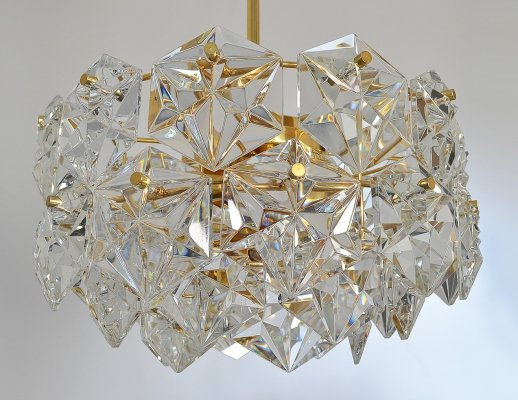 3 tier 41 faceted crystal & gilt brass Chandelier by Kinkeldey, 1970s