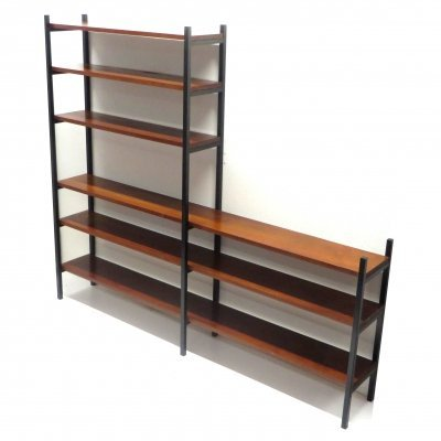 Mid century wall system / wall unit in metal with solid teak shelves