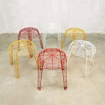 Set of 6 vintage Dutch Eclectic design colored wire stools