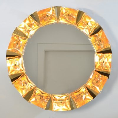 Illuminated Mirror in faceted Crystal Glass & Gilt Brass from Kinkeldey, 1970s