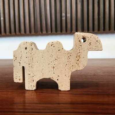 Vintage Italian Camel Travertine Table Sculpture by Fratelli Mannelli, 1970s