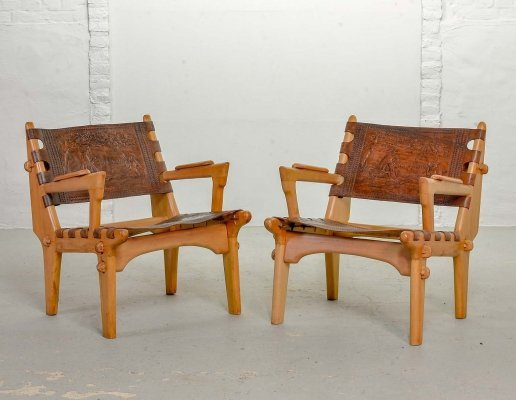 Set of Angel Pazmino Sadle Leather Cotacachi Lounge Chairs, Ecuador 1960s