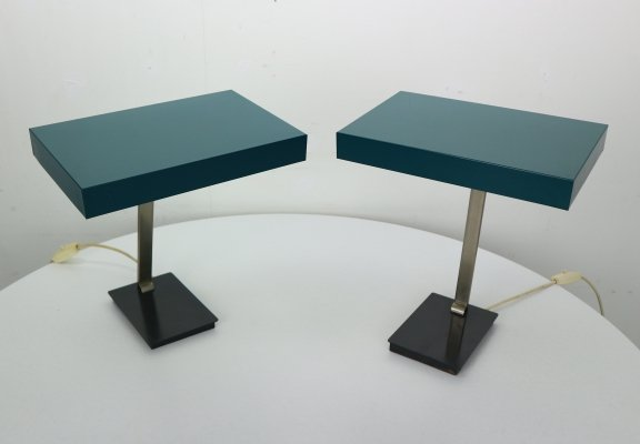 Set of 2 'Model 6877' Bauhaus Minimalist Lamps by Kaiser Leuchten, Germany 1950