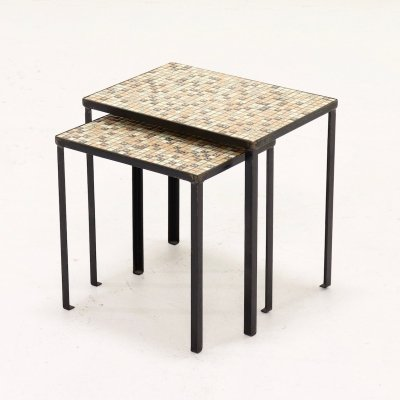 Set of 2 Mid Century Side Tables With Mosaic Inlay, 1960's