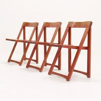 Set of 3 Folding Chairs by Aldo Jacober for Habitat, Italy 1960s