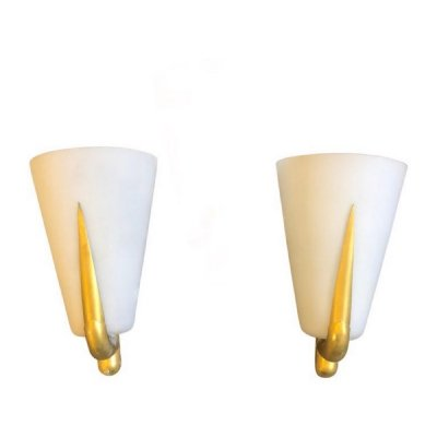 Set of two Mid-Century Modern Brass & Glass Wall Sconces, circa 1950