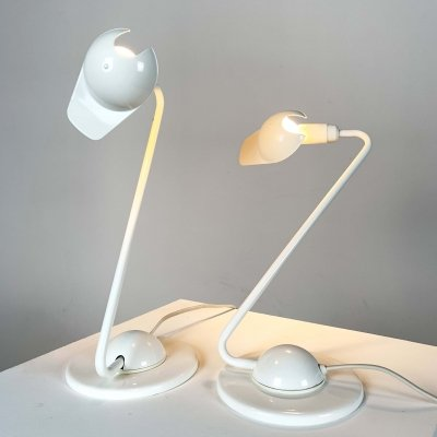 Pair of Adjustable White Table Lamps, 1980s