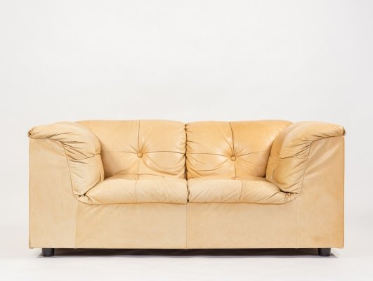 1970's Cognac leather two seats sofa by Asko