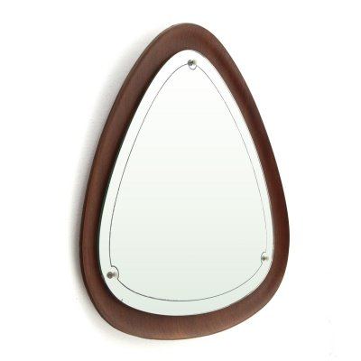 Midcentury Modern mirror with triangular frame in plywood, 1960's