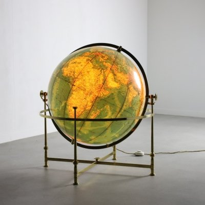 Large illuminated globe by JRO Globus, 1970s