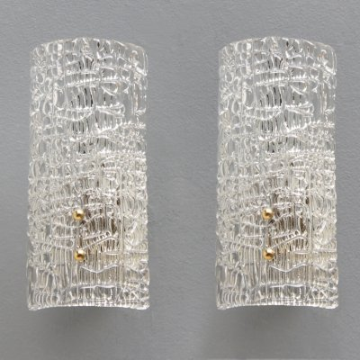 Pair of textured half tubular Murano sconces. Italy 1950s