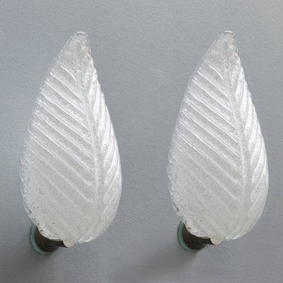 Pair of palm leaf shaped Murano glass sconces by Barovier & Toso, Italy 1950s