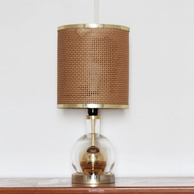Table lamp with papercord lampshade & glass/brass structure