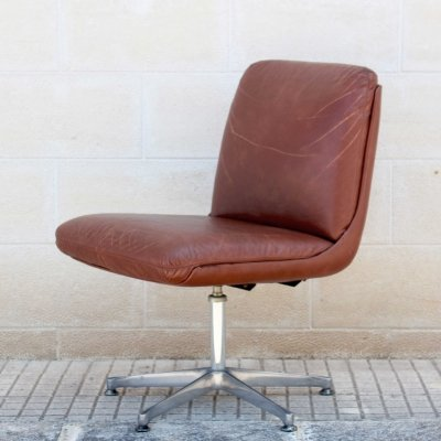 4 x Vintage Brown Leather Armchair, 1960s
