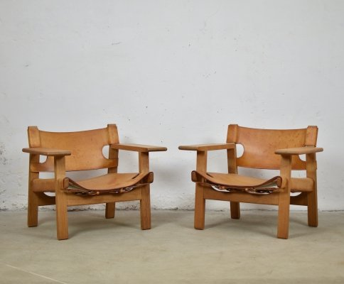 Pair of 'Spanish' chairs by Børge Mogensen for Fredericia, Denmark 1950's