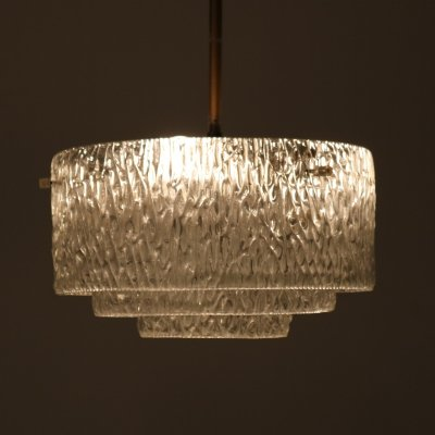 1960s Glass hanging lamp with brass details