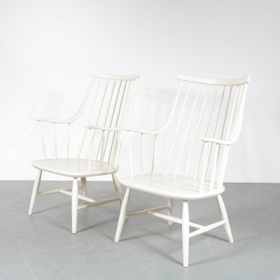 Pair of spokeback chairs by Lena Larsson for Nesto, 1950s