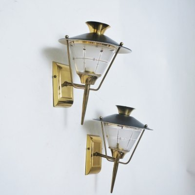 Pair of Lunel wall lamps, 1950s