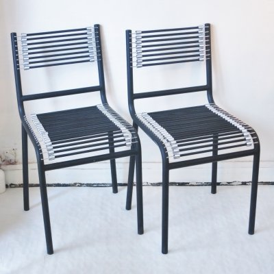 Pair of Sandow dining chairs by Rene Herbst for Ecart International, 1980s