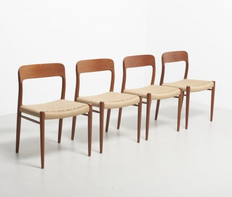 Set of 4 Model 75 dining chairs by Niels Otto Møller for JL Møllers Møbelfabrik, 1950s