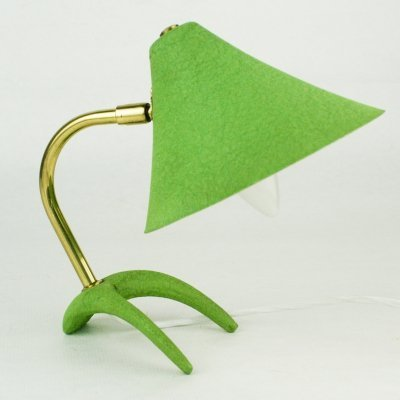 Green Midcentury Brass Crow's Foot Table Lamp by Louis Kalff for Philips